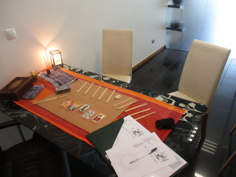 Tarot consultation table, I-Ching and Chinese astrology